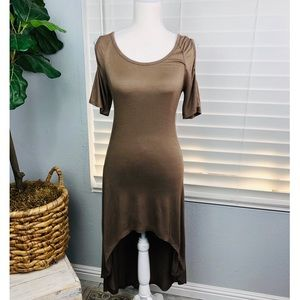 COMFY HIGH LOW BROWN SHORT SLEEVE DRESS